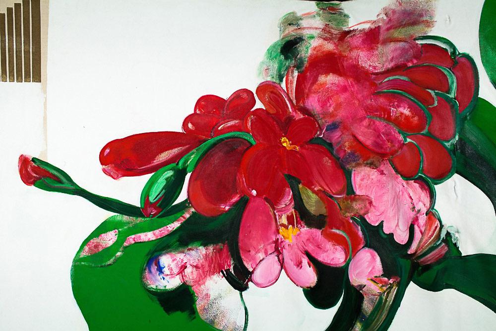 "Geranium    Detail  mixed media on canvas  62"" x 98"", 1983"