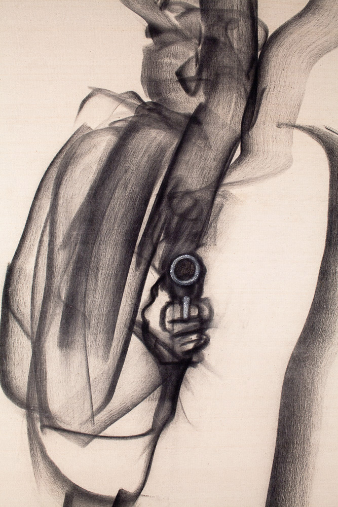 "Man with a Gun    Detail  charcoal on raw canvas  44"" x 28"", 1983"