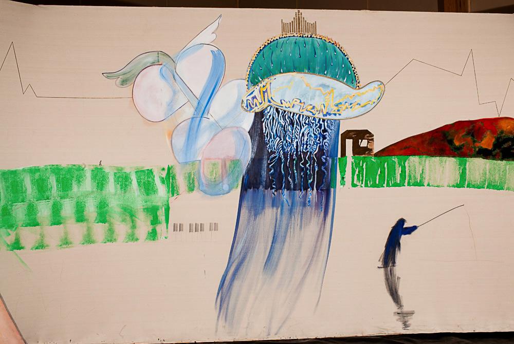 """Overview:  Man Walking  through  Autumn Mountain    mixed media on raw canvas  96"""" x 142"""", 1983"""