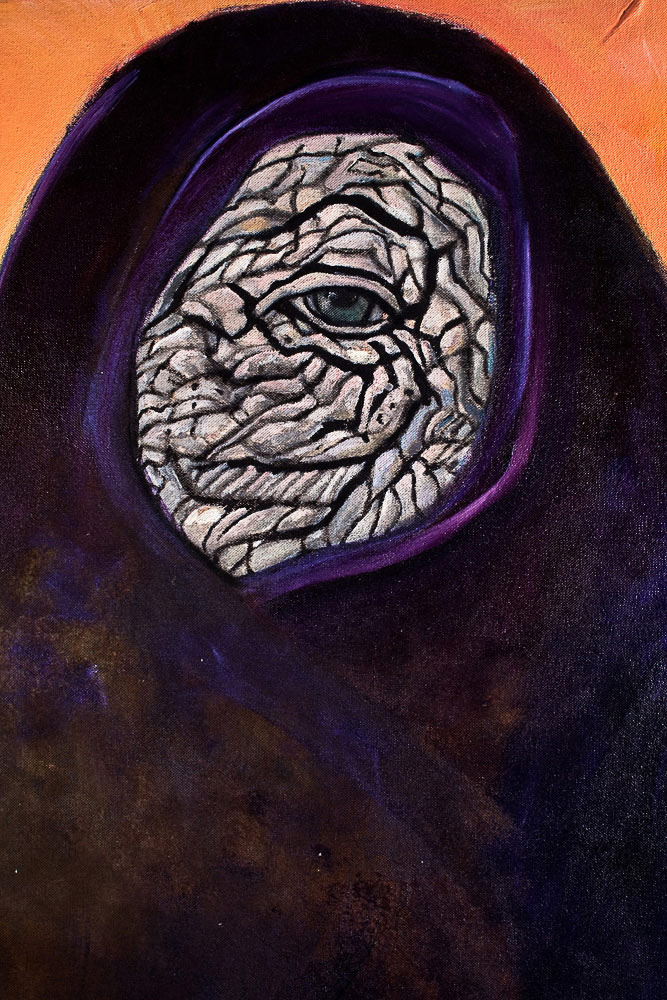 "Elephant Eye in  Female Figure    Detail  mixed media on canvas  35"" x 22"", 1983"