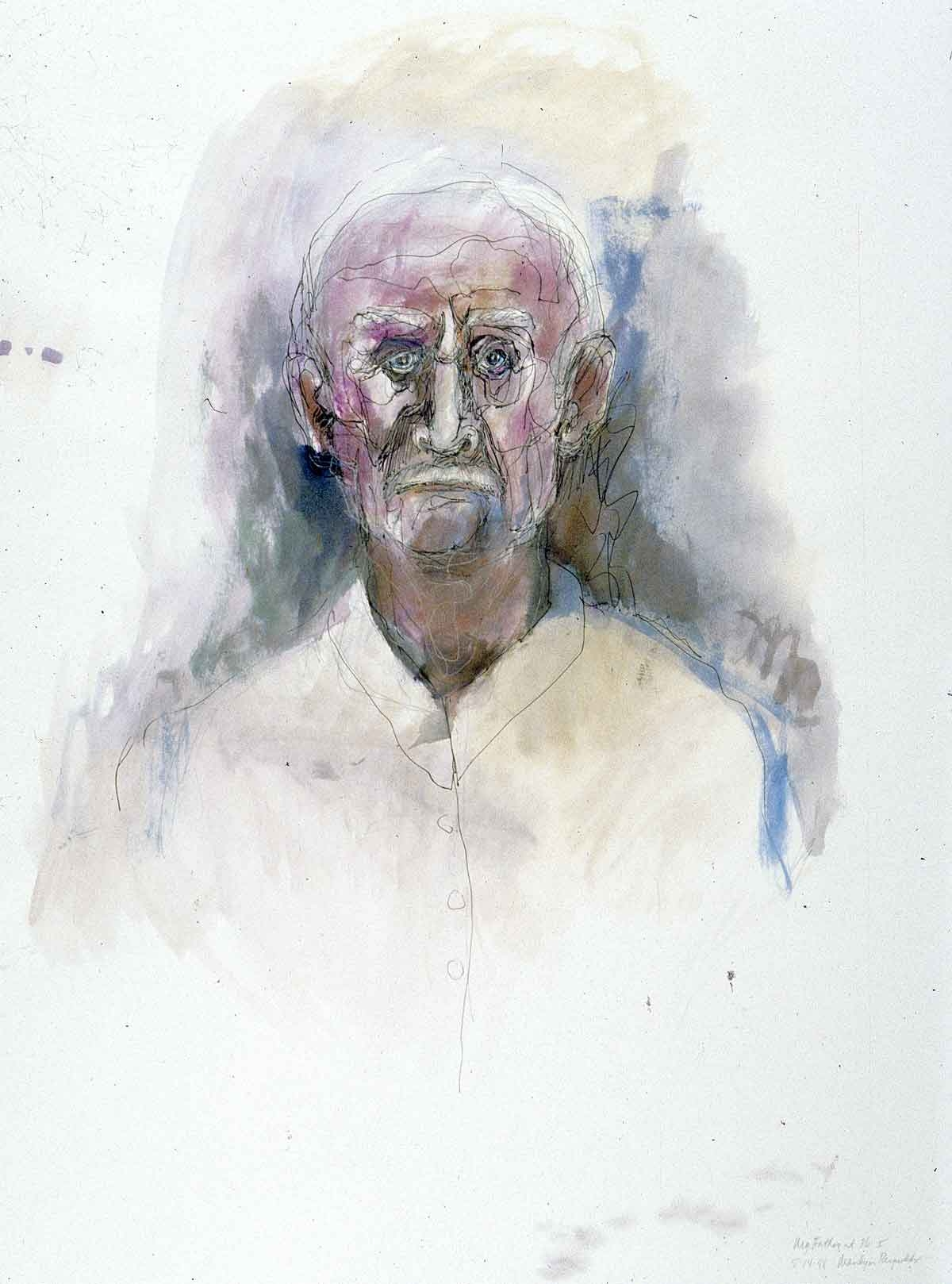 "Portrait of My Father    mixed media on paper  30"" x 24"", 1998"