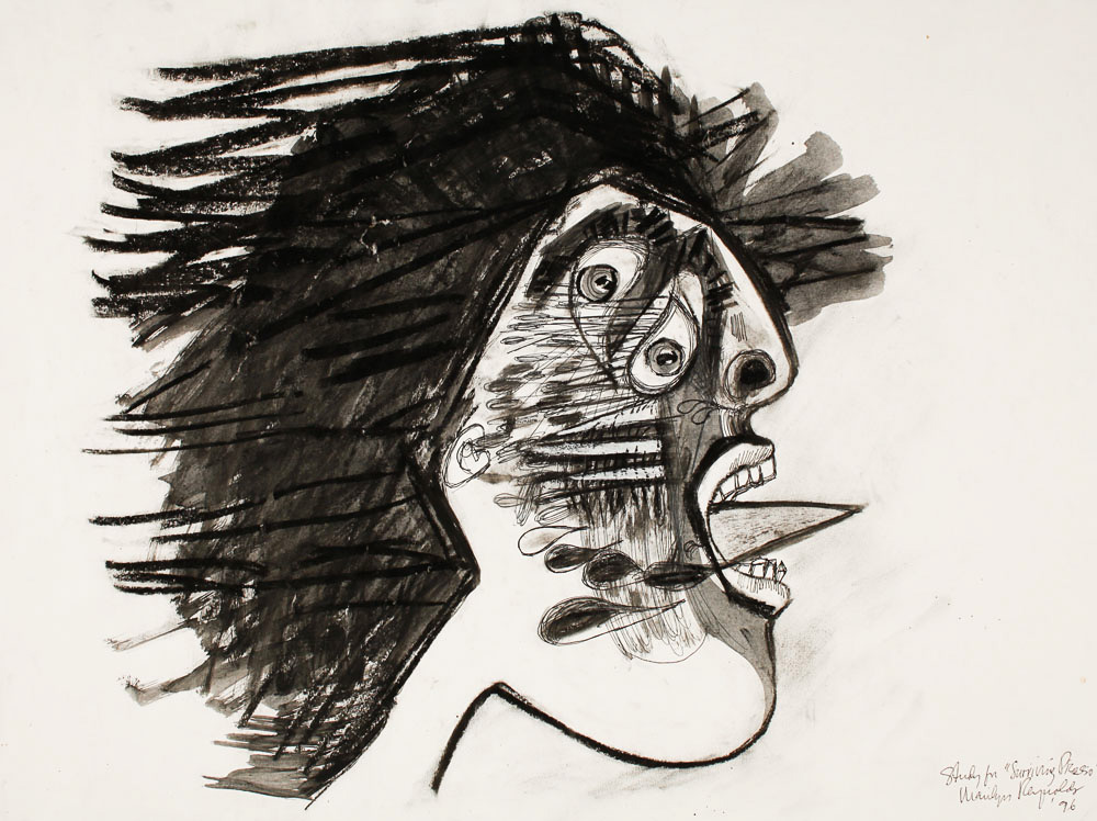 "Weeping Women Faux Picasso Study   for Merchant-Ivory film,  Surviving Picasso   mixed media on paper  24"" x 30"", 1996"