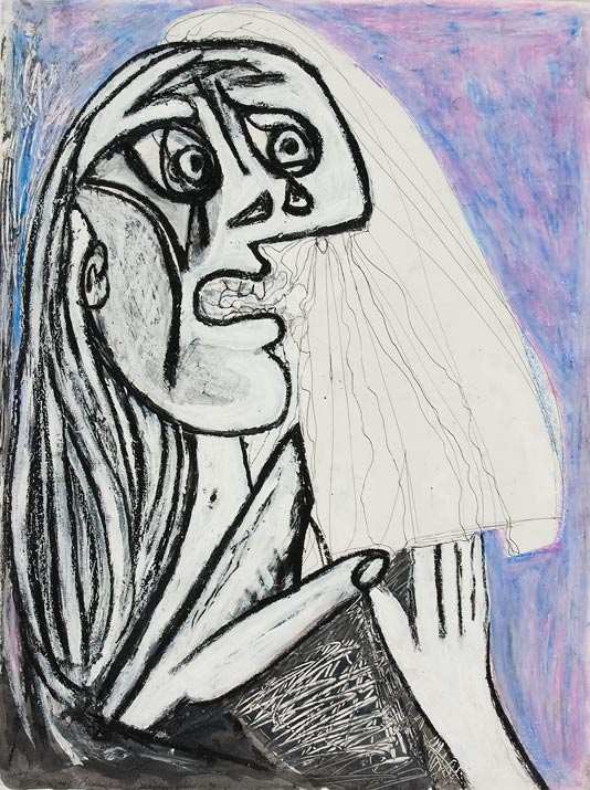 "Dora Maar,   faux Picasso for Merchant-Ivory film,  Surviving Picasso   mixed media on paper  30"" x 24"", 1996"