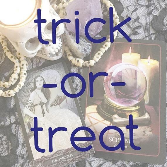 Trick-or-Treat is a punchy two card tarot & oracle reading designed to help you invite this season's energies into your life for spiritual and personal development. In this reading, we will illuminate the primary lesson being presented to you as you pass through this Halloween/Samhain threshold and how you can best work with the season's energies. Reach beyond the thinning veil with me and see what magic is brewing for you this Autumn. Trick-or-Treat is also a perfect (and affordable!) Halloween treat for your friends, coven mates, and family (just make sure they consent to a reading)! You will receive a downloadable PDF that includes a clear color picture of your spread, your reading of at least 150 words, and additional information about the decks, assisting stones, and other tools used during your reading. Your PDF will be delivered within 5 days of purchase.  Shop link in bio 🔮