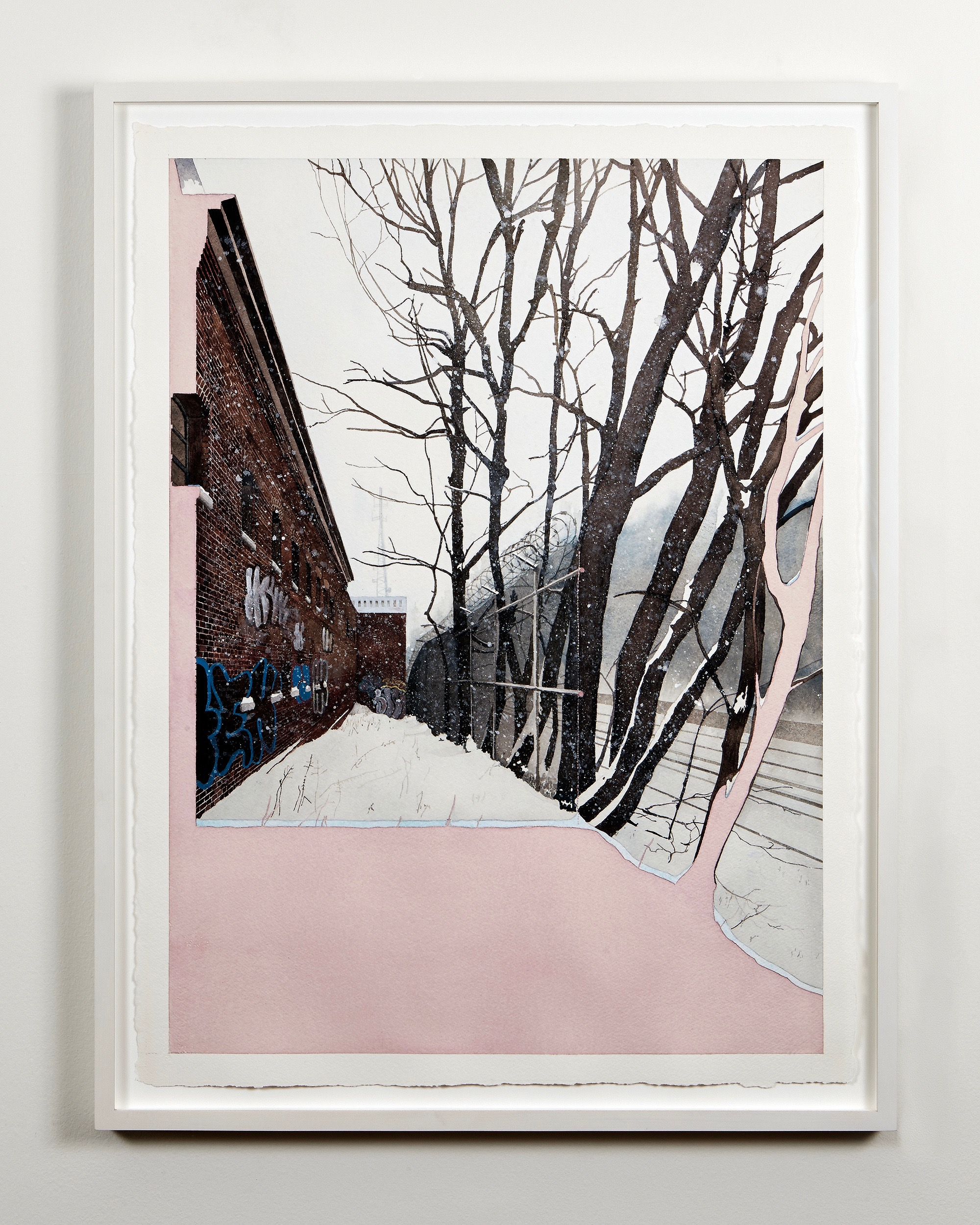 Adrian Coleman watercolor in lacquered white frame