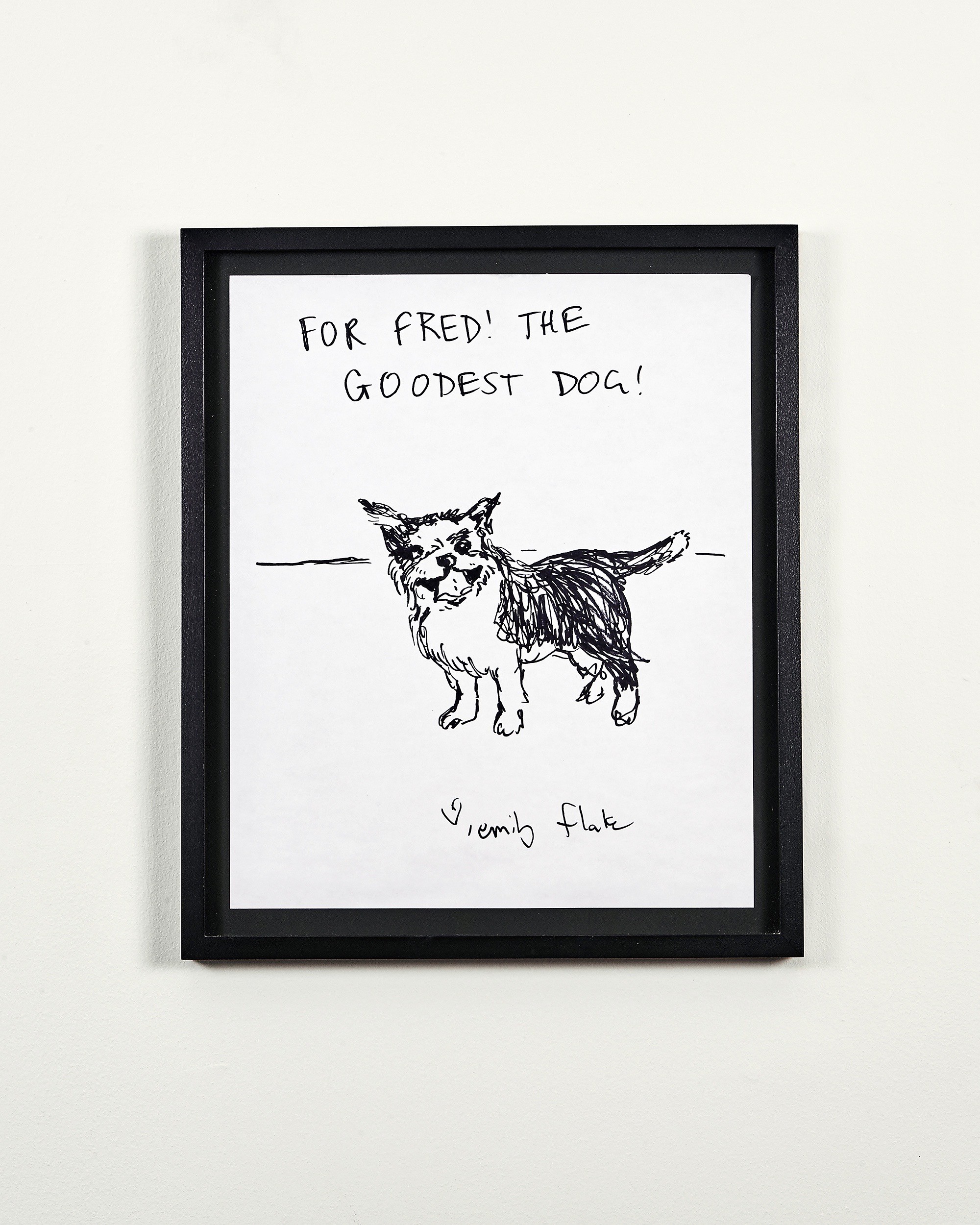 Emily Flake portrait of Fred in black milk-paint frame