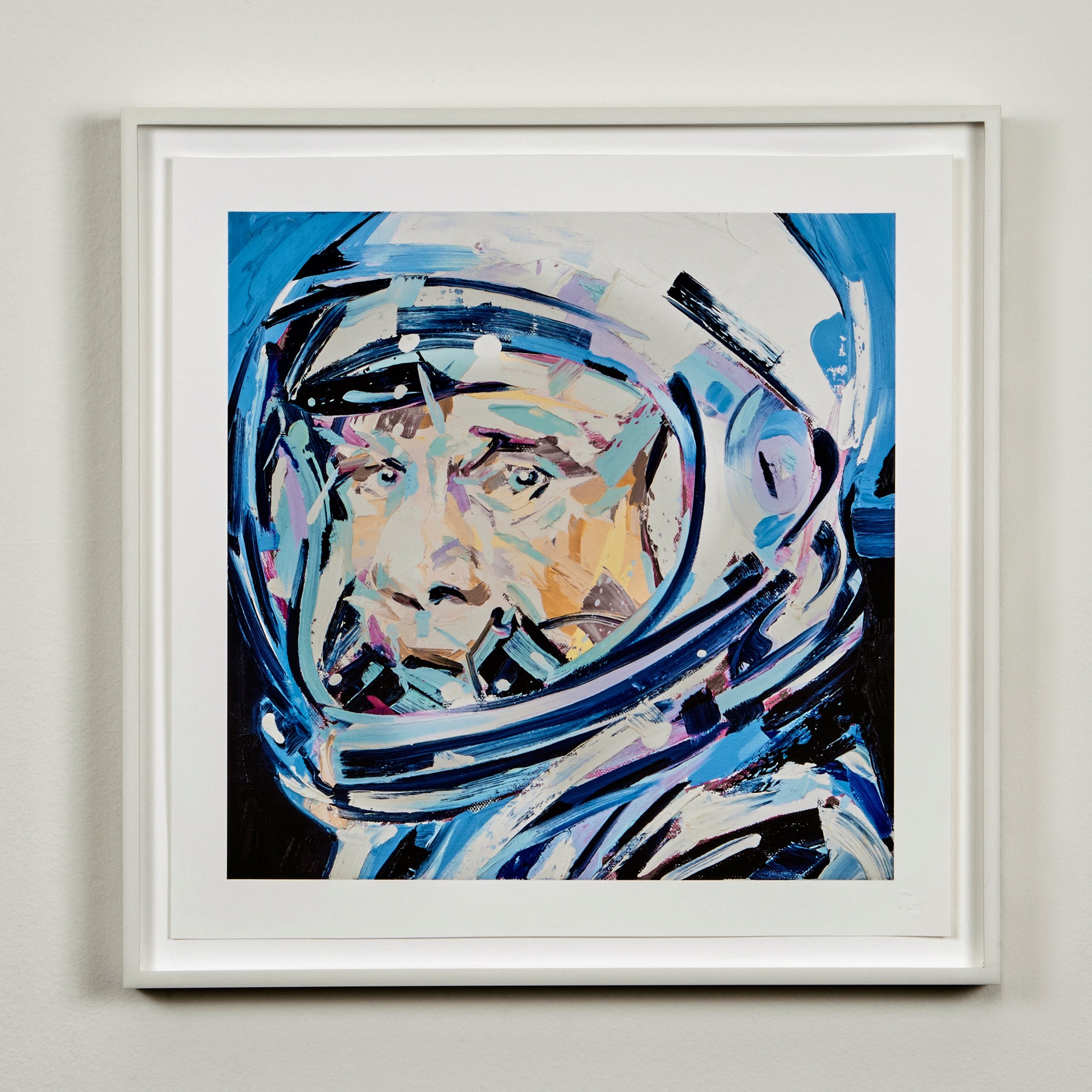 Michael Kagan print in welded aluminum, white powdercoat frame