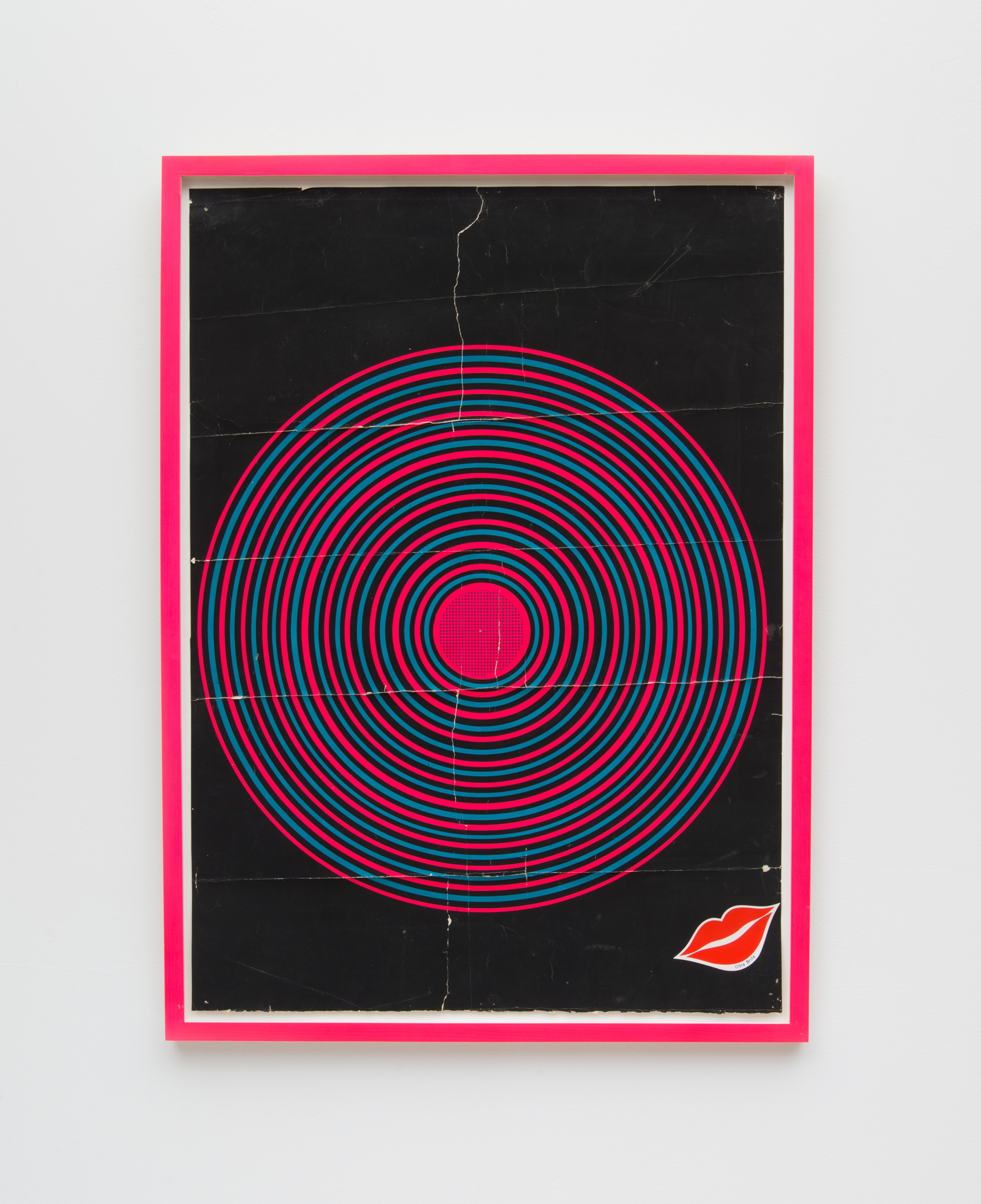 vintage blacklight poster in fluorescent pink cap frame