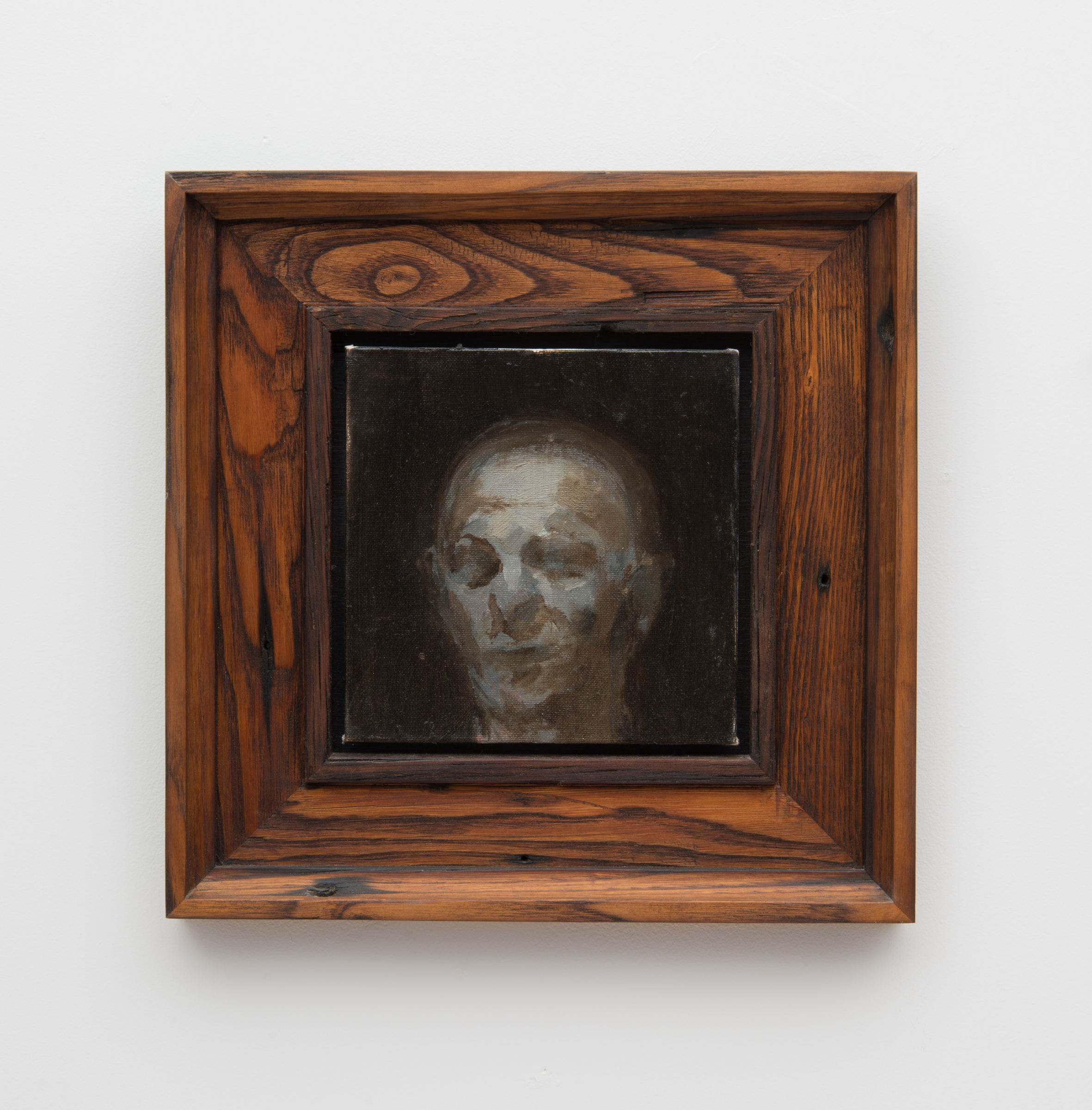 Timothy Wilson painting in reclaimed chestnut canvas float frame in a custom profile finished in oil and wax