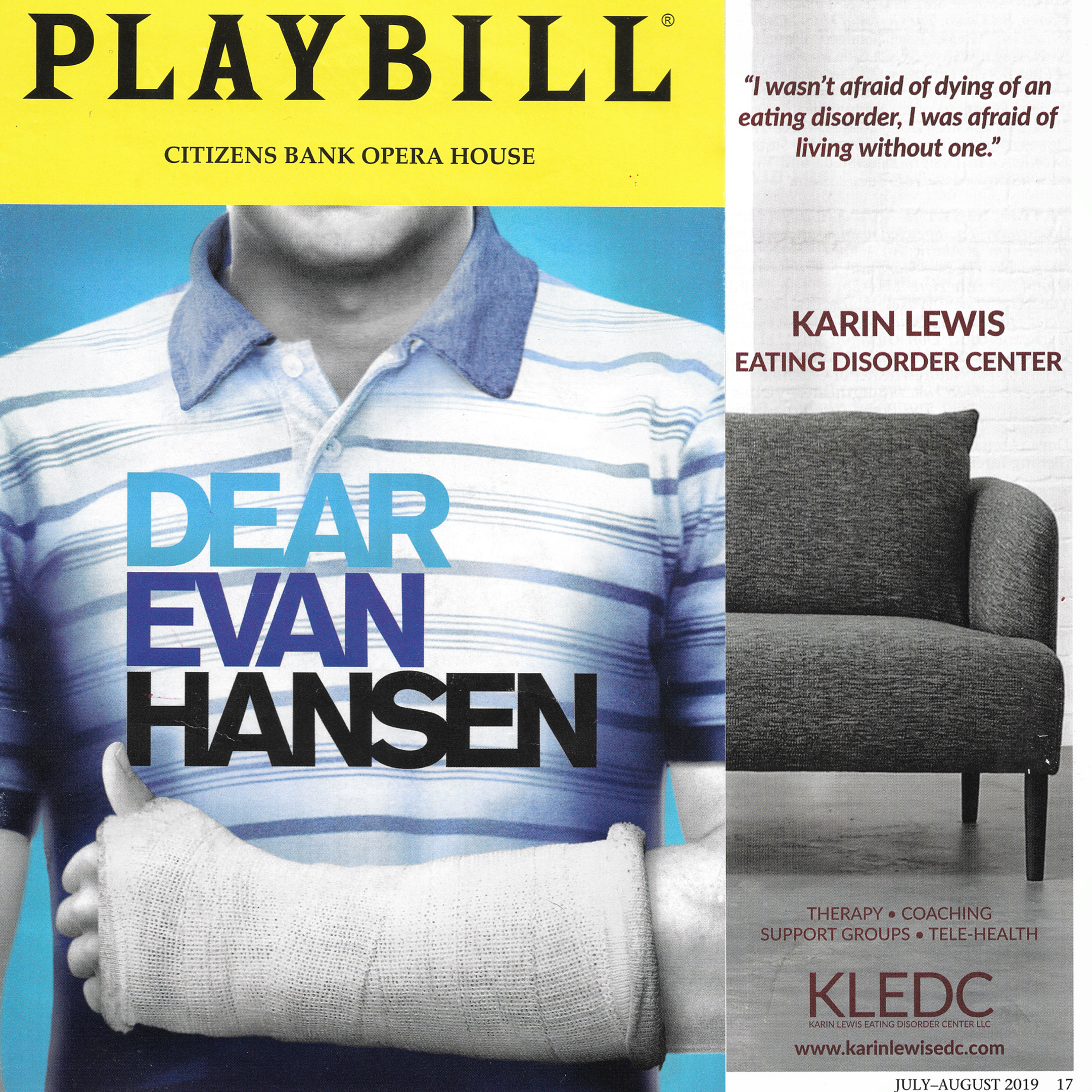Dear Evan Hansen Playbill for the Boston Opera House run featuring the Karin Lewis Eating Disorder Center.