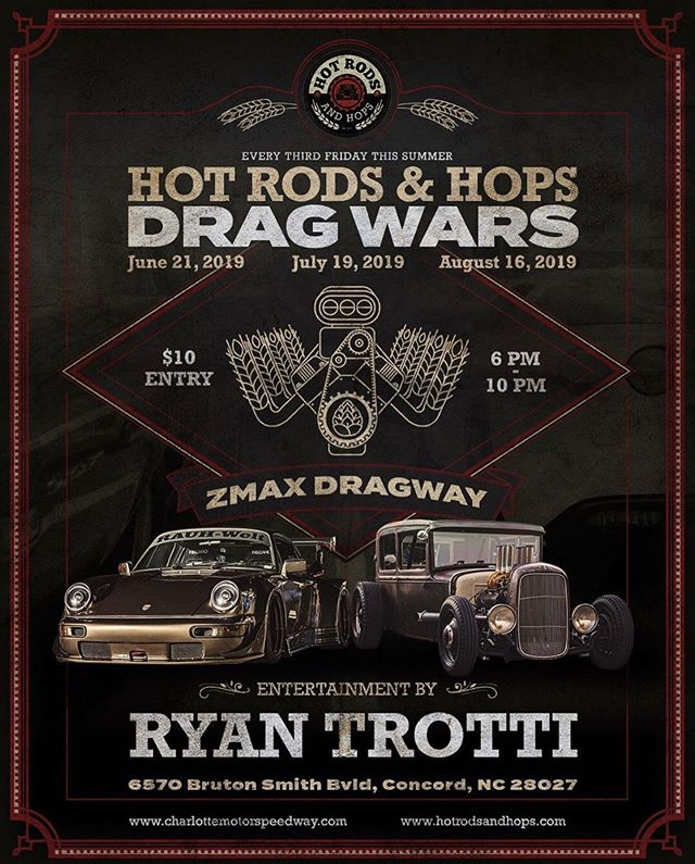 That time is once again upon us. @hotrodsandhops @innovativespeedshop @ryantrotti #cars #hotrods #classics #americanmuscle #exoticcars #chevy #ford #mopar #ferrari #lamborghini #mclaren #motorcycles #bikes #lkn #local @zmaxdragway #charlotte #concord #livemusic #carshow