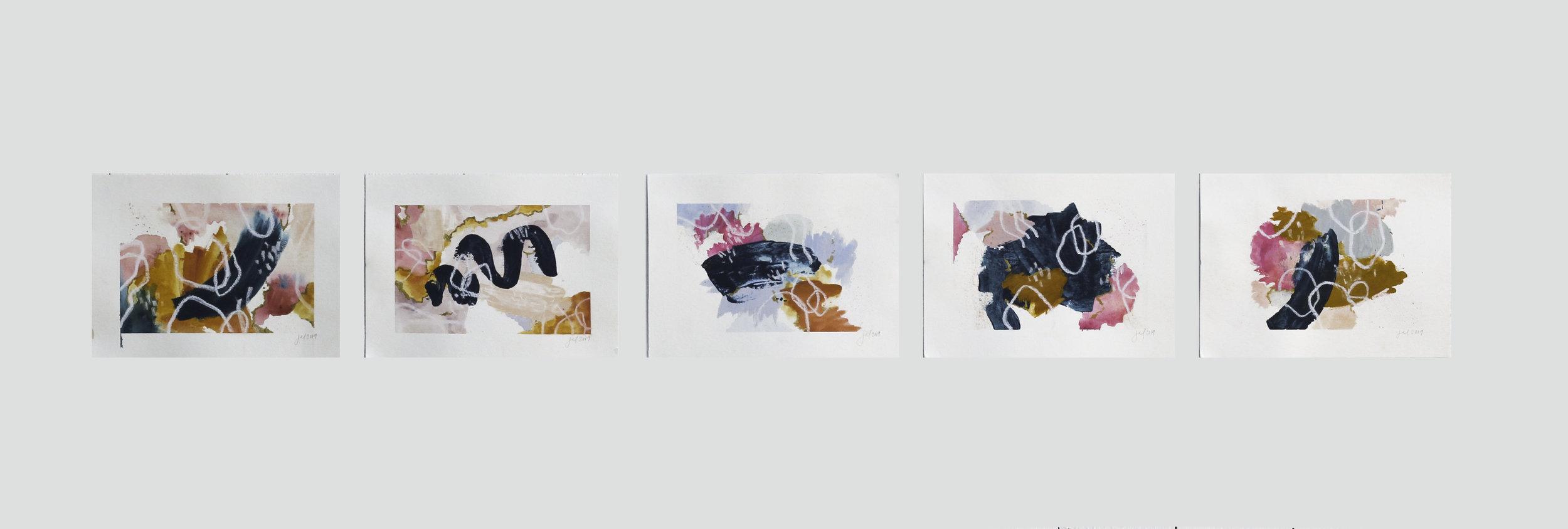 auras NO. 1 - 8 x 10 each | Acrylic, watercolor, pastel on paper |June 2019.