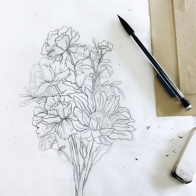 Morning marks on a WIP floral piece for an upcoming project. Can't wait to refine this girl and get her all inked in.