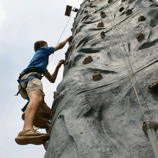 The Rock Climbing WAll - The Rock is a classic outdoor climbing wall, providing an interesting climbing course for a single climber. With three different side-by-side routes, The Rock offers a competition climb for three adventure seekers with a race to the top. Minimum height is 44