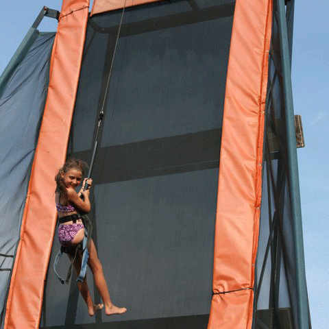 The Wall Rappelling Bounce - An attraction you can't find anywhere else, bouncing vertically on the Wall gives the sensation of flying for those who can master the bounces and twists. A rappelling cable hoist the rider 24 feet into the air as you rebound against a vertically placed trampoline.$3.50 - Combo Packages - Group DiscountsDownload waiver instead of signing online.