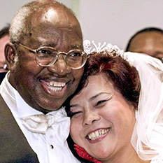 Roman Catholic Archbishop Emmanuel Milingo and Maria Sung receive the Holy Marriage Blessing.