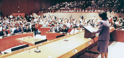 True Mother gives her address at the UN headquarters September 7, 1993.