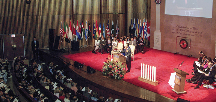 True Father speaks at the inauguration of the Universal Peace Federation on September 12, 2005.