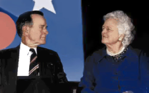 Former U.S. President and First Lady George and Barbara Bush attend a WFWP conference.