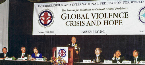 The Global Violence Crisis and Hope assembly is held as a response to the tragedy on September 11.