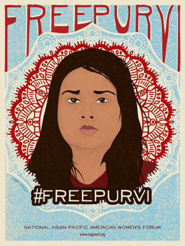 """An illustration of Purvi Patel against a geometric background. The hashtag """"Free Purvi"""" is overlaid."""
