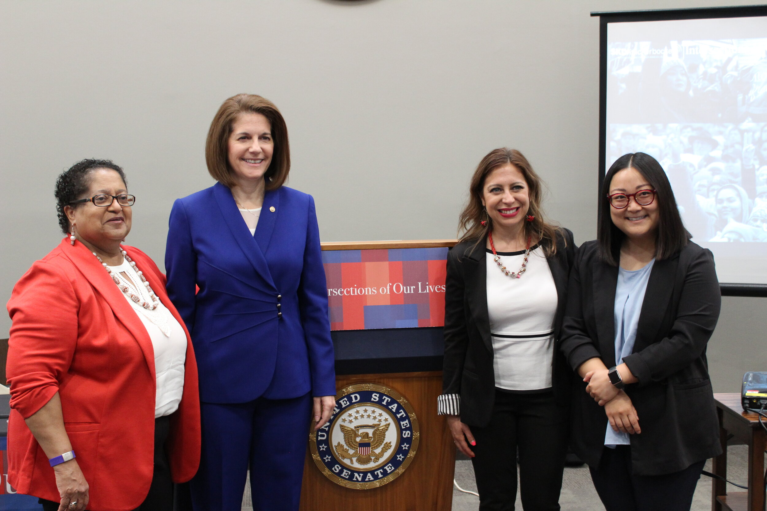 From Left to Right; Marcela Howell, President of In Our Own Voice: National Black Women's Reproductive Justice Agenda; Senator Cortez-Masto of Nevada; Jessica González-Rojas, Executive Director of the National Latina Institute for Reproductive Health; and Jennifer Wang, Deputy Director of Programs for NAPAWF