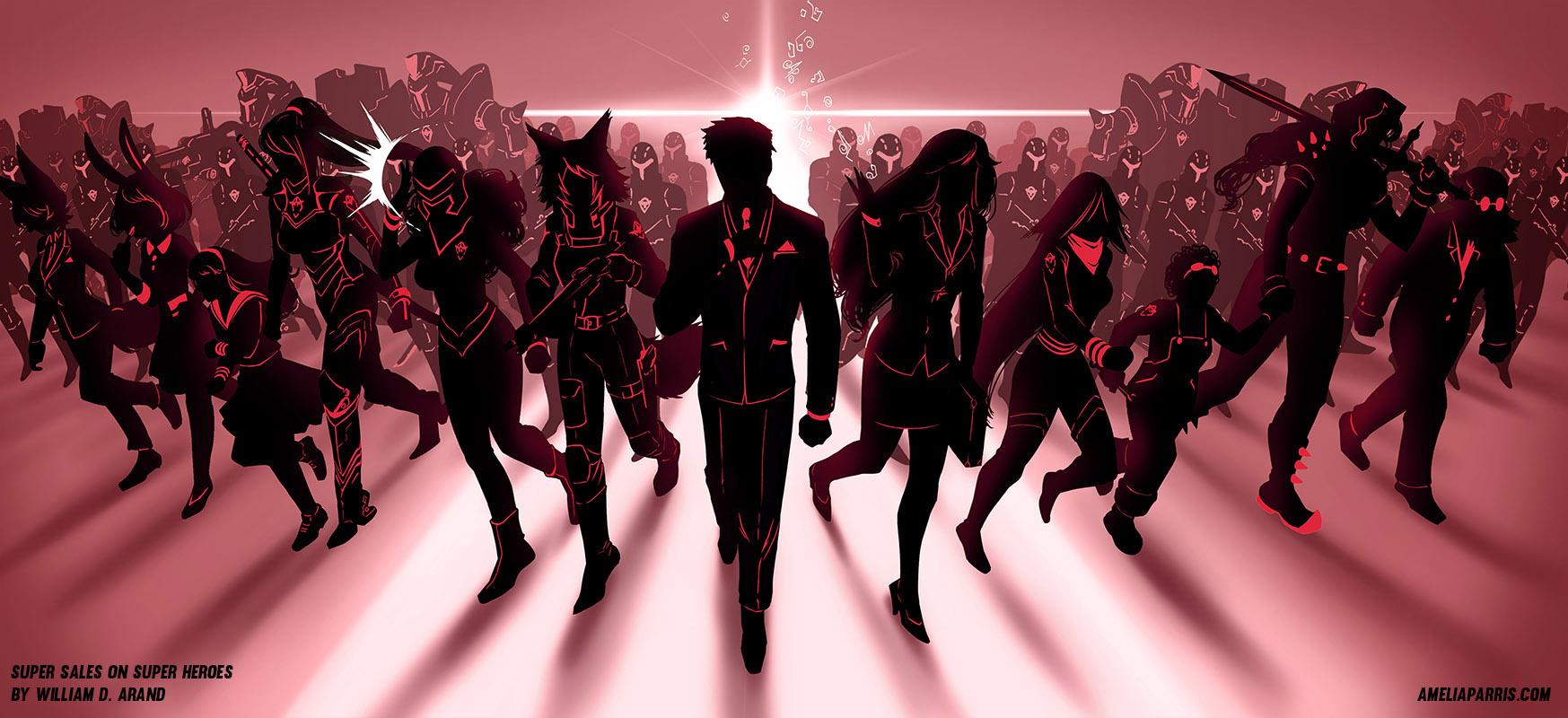 """Banner art for """"Super Sales on Super Heroes"""""""