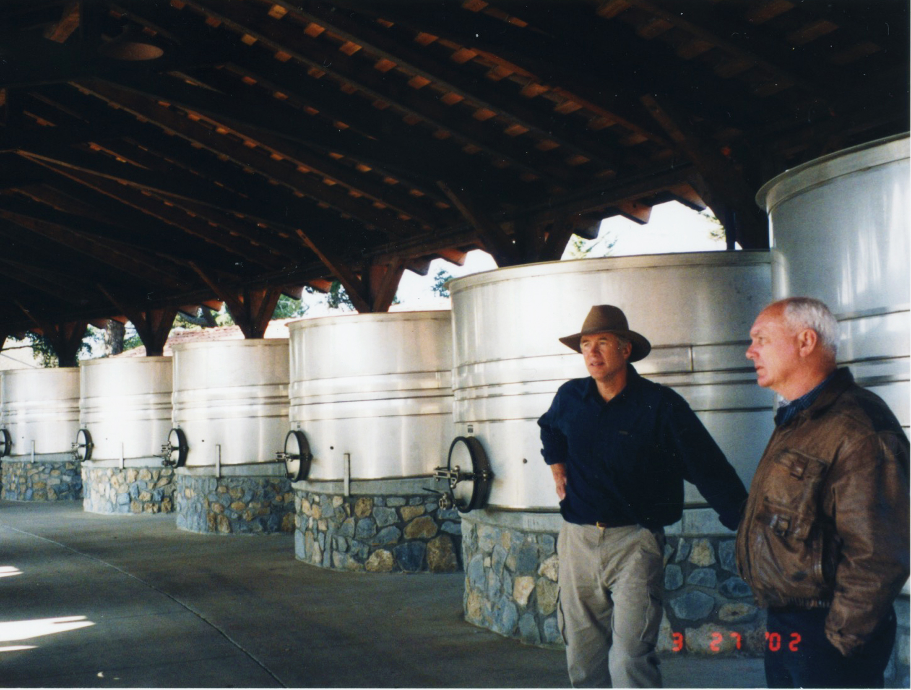 Architect, Rob Mehl, left, and Bruce, visiting the Sanford Winery in Santa Ynez.