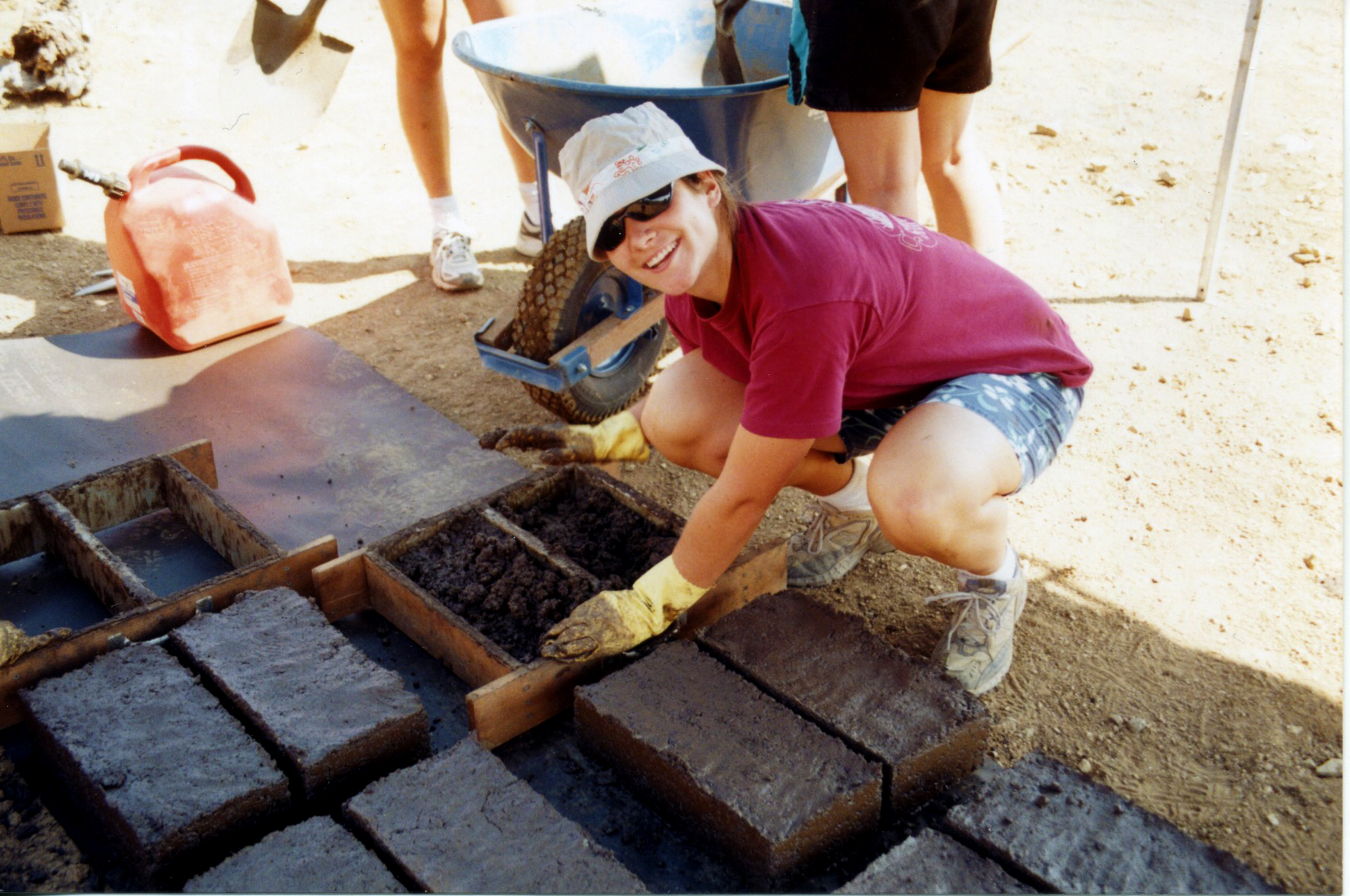 The first day of brick making with niece, Hilarie, and her friends.