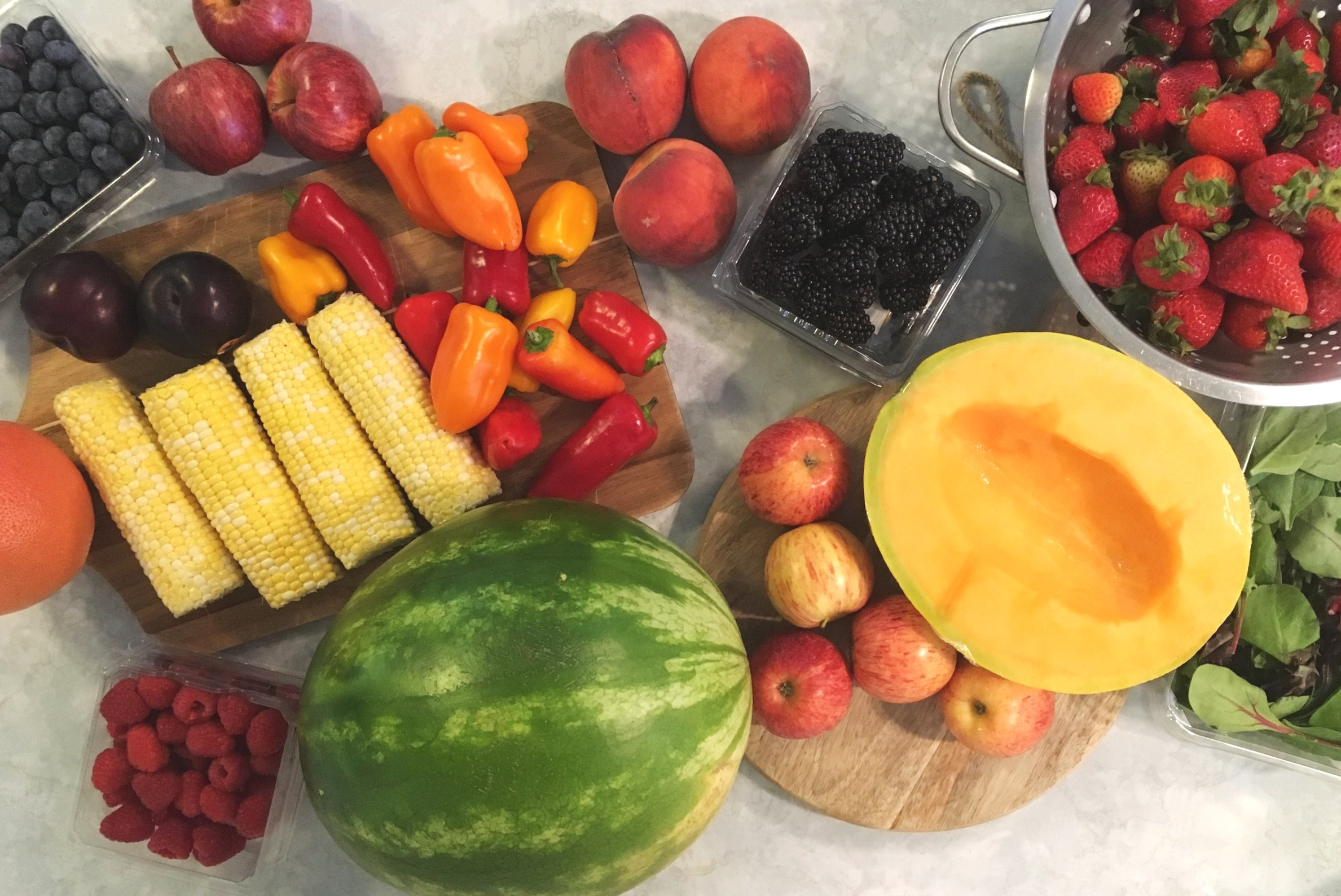 unprepped fruits and veggies