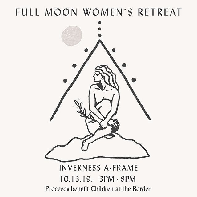 I so hope you can join us in celebrating the full moon while giving back in community✨retreat guests will experience a full moon meditation + amulet making with @opal_elements ✨ + one hr healing session with either @ameliaheron_ offering craniosacral, @township31 offering hand poked tattoo, @wandererstarot reading from her own tarot deck, or @godseyeoils offering a custom perfume making session✨ local lovelies @supahstahchocolate @westandwilder @juniperridge will be donating treasures✨ proceeds will benefit @supportkind who assists children in need at the border✨ I so hope you join us! limited spots available.. link in bio to register 🌕🙏🏼🔼✨Image design by @ameliaheron_ ✨