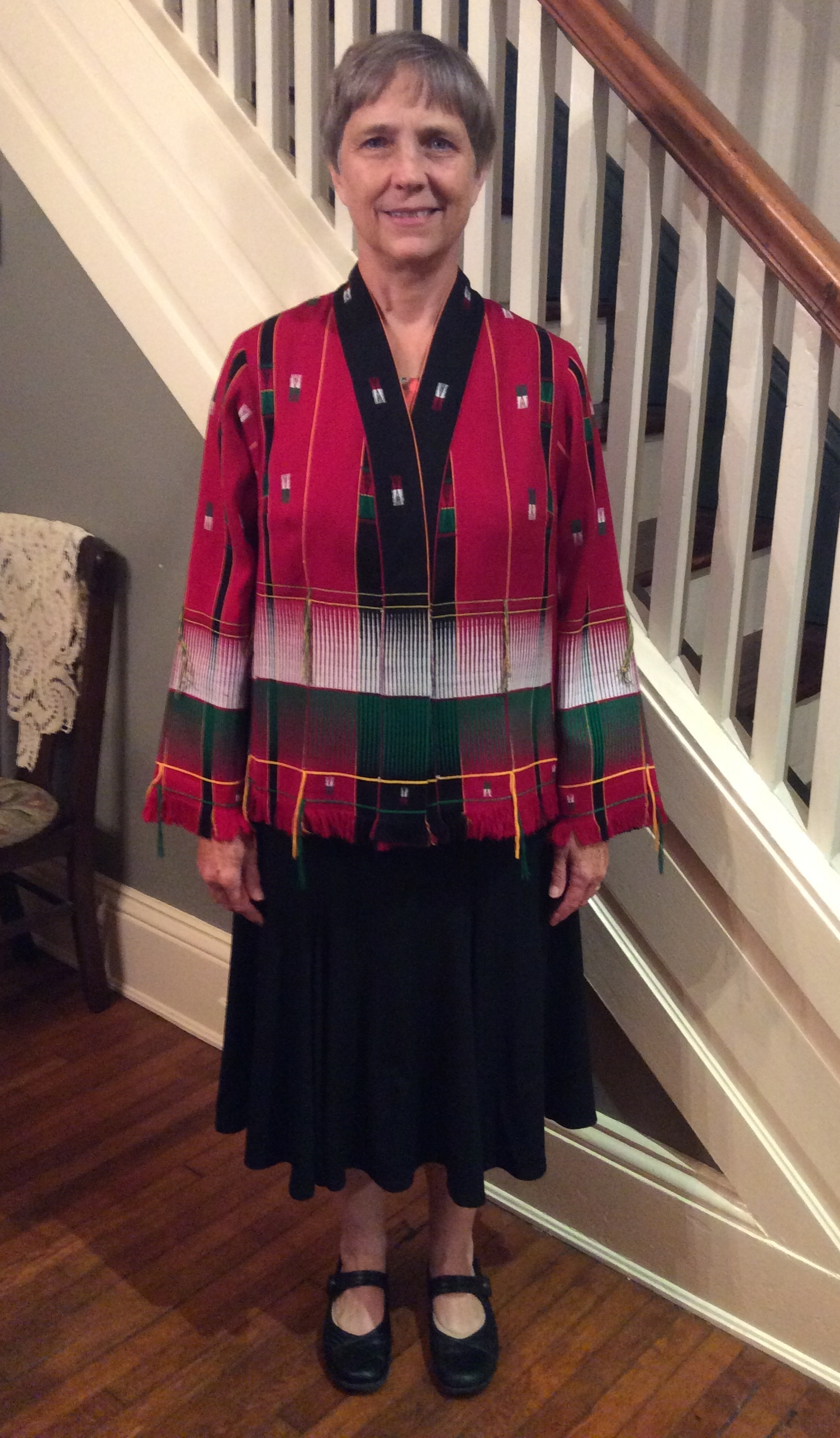 This is a jacket I made my client using fabric she was given from India. The Tabula Rasa Jacket pattern from FitForArt Patterns was perfect for this fabric.