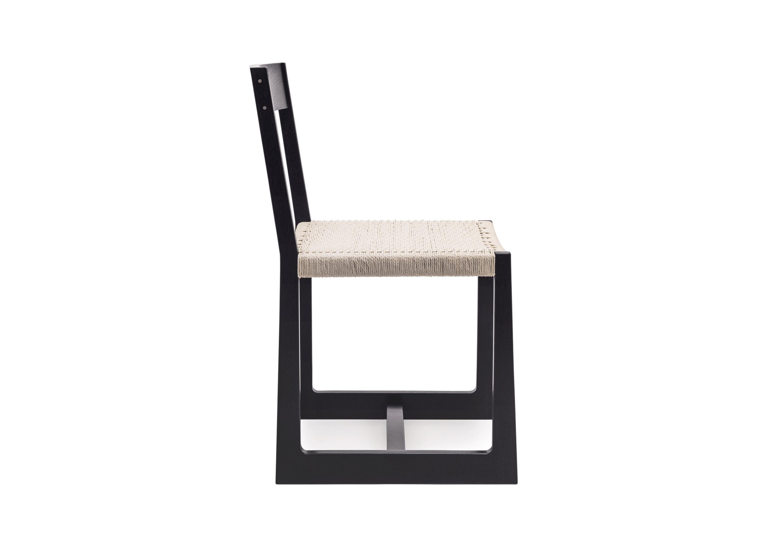Matteawan chair in ebonized walnut and white Danish cord