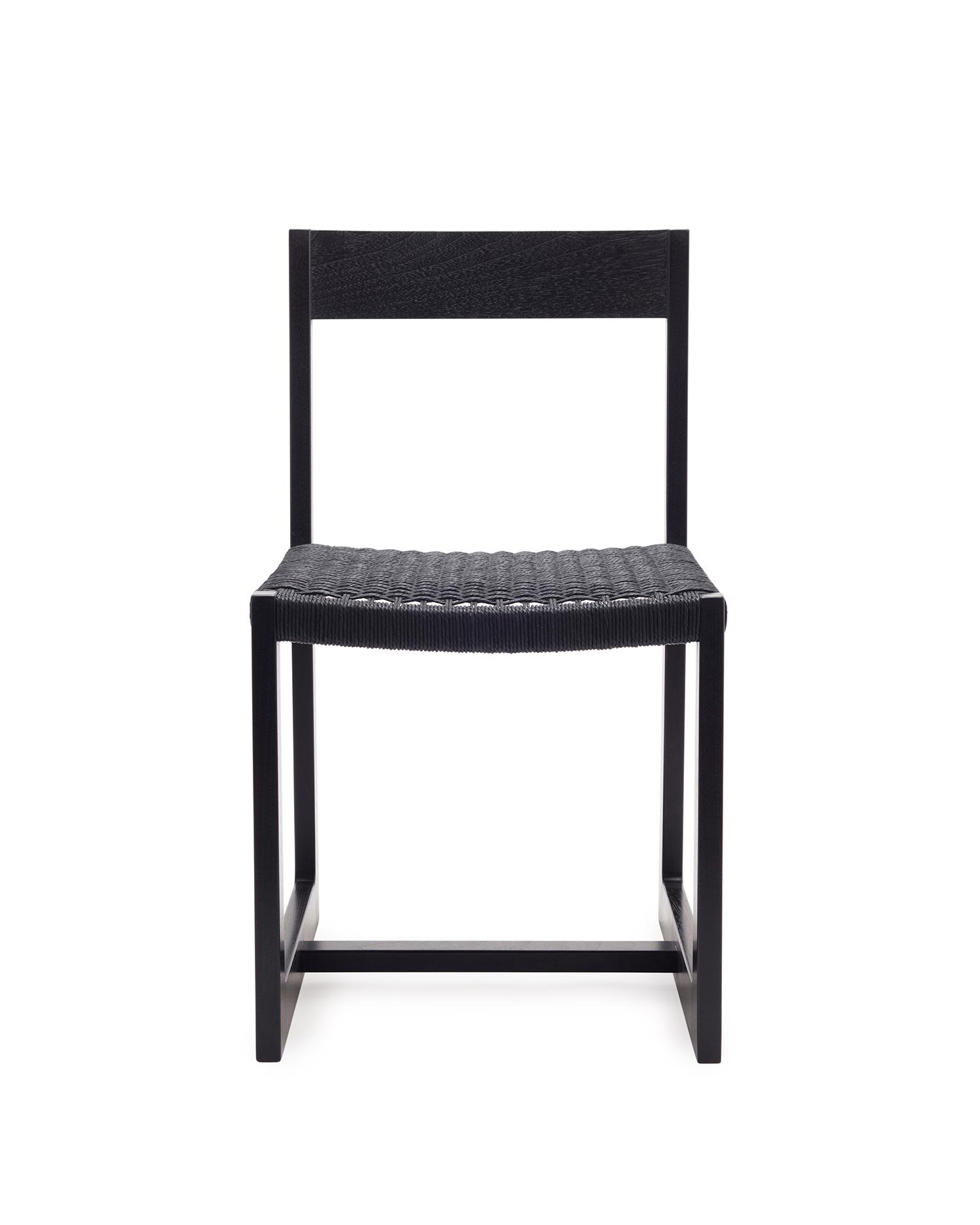 Matteawan dining chair in ebonized walnut and black Danish cord
