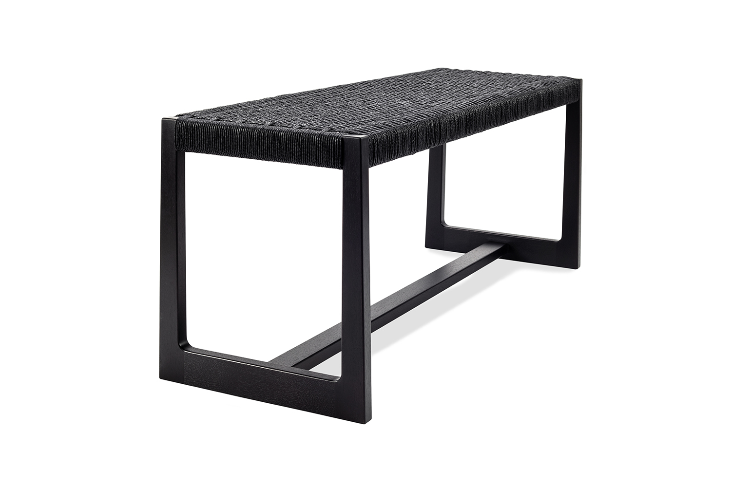 Long and low Matteawan stool in ebonized walnut and black Danish cord
