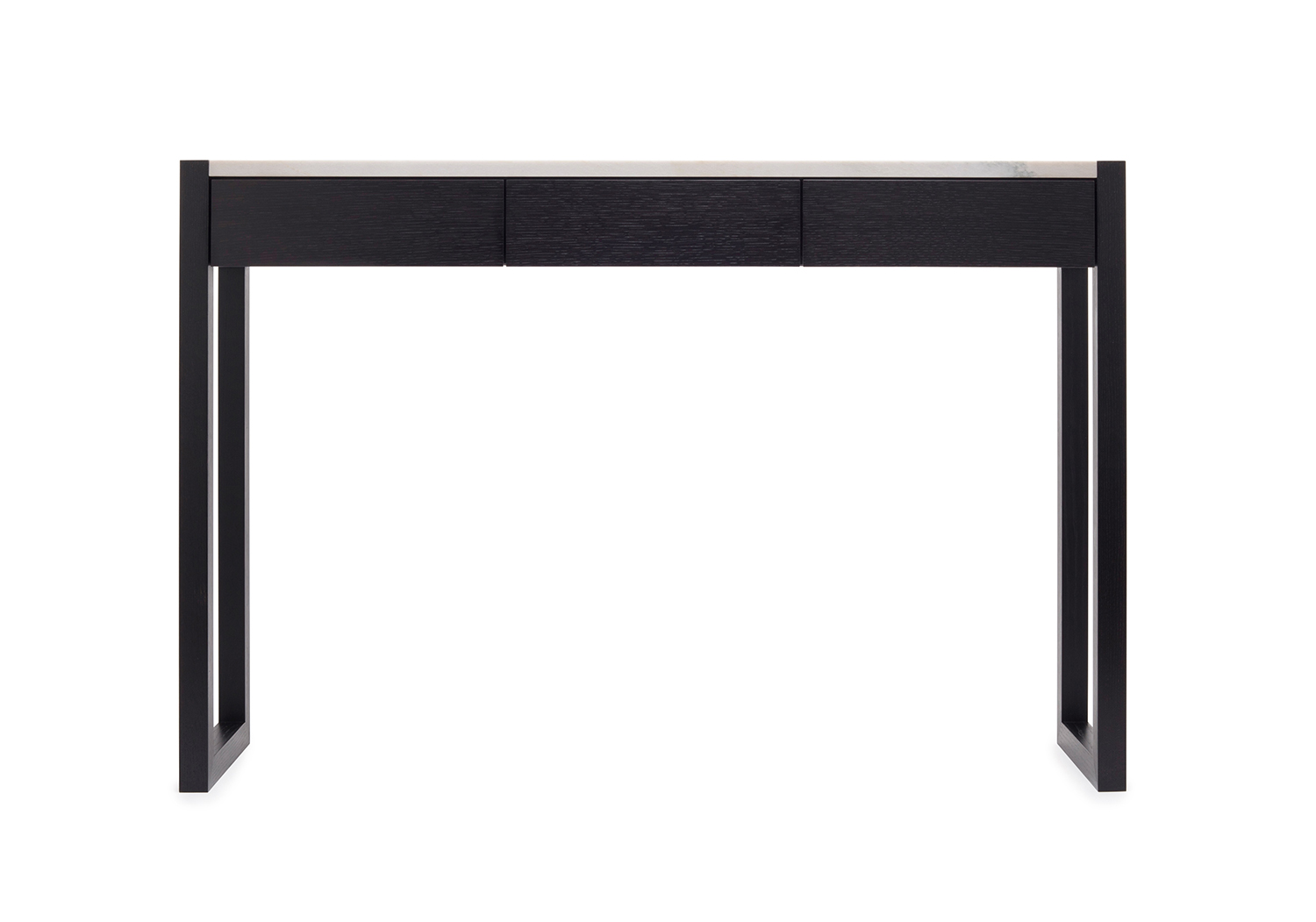 Front view of the Highland console table in ebonized oak with brass and a quartzite top