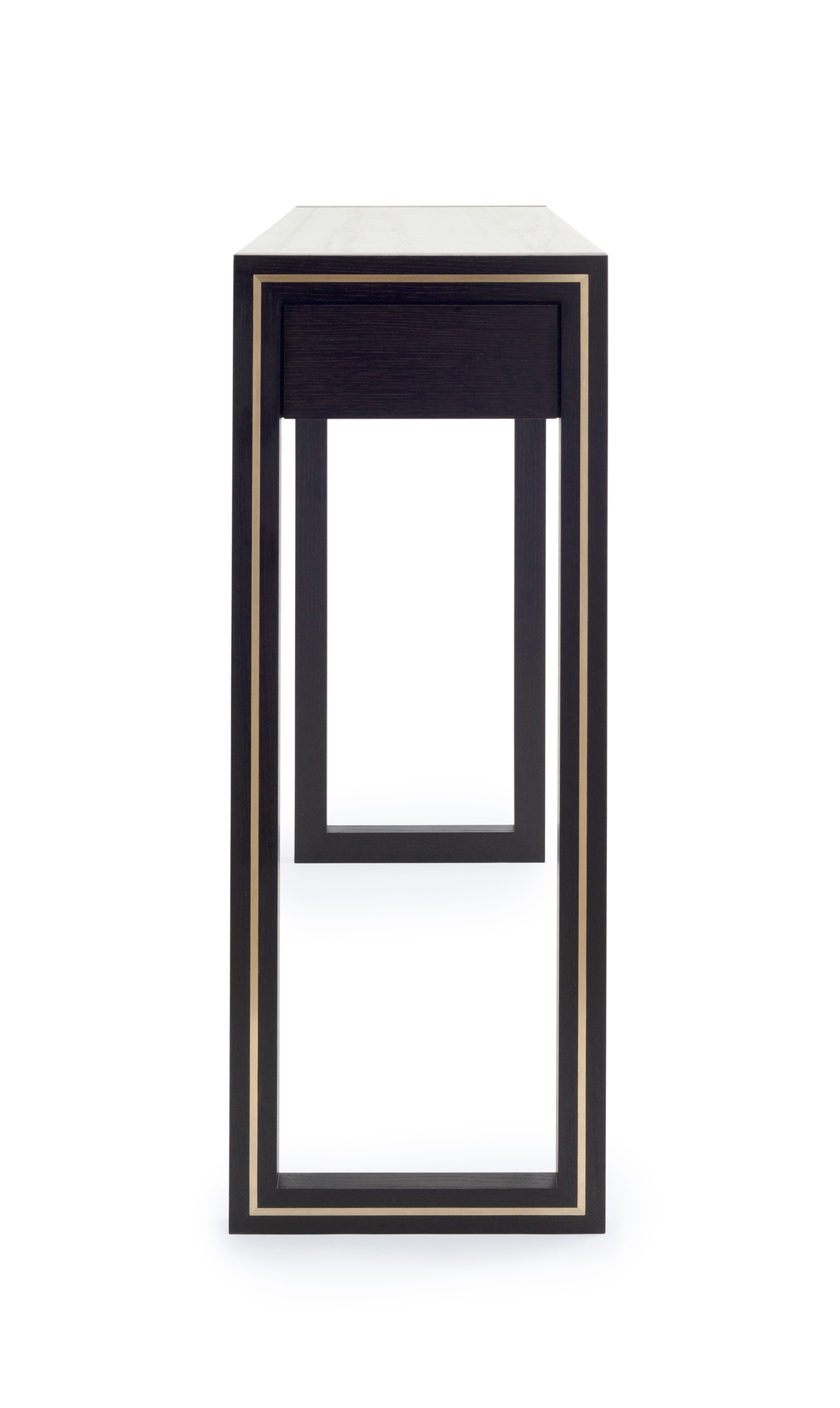 Side view of the Highland console table in ebonized oak with brass and a quartzite top
