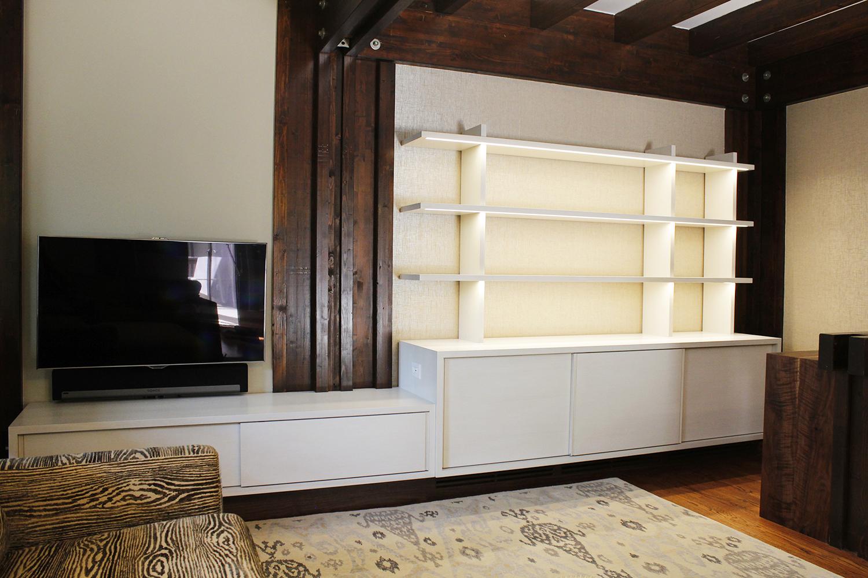 Custom media storage and under shelf LED lighting