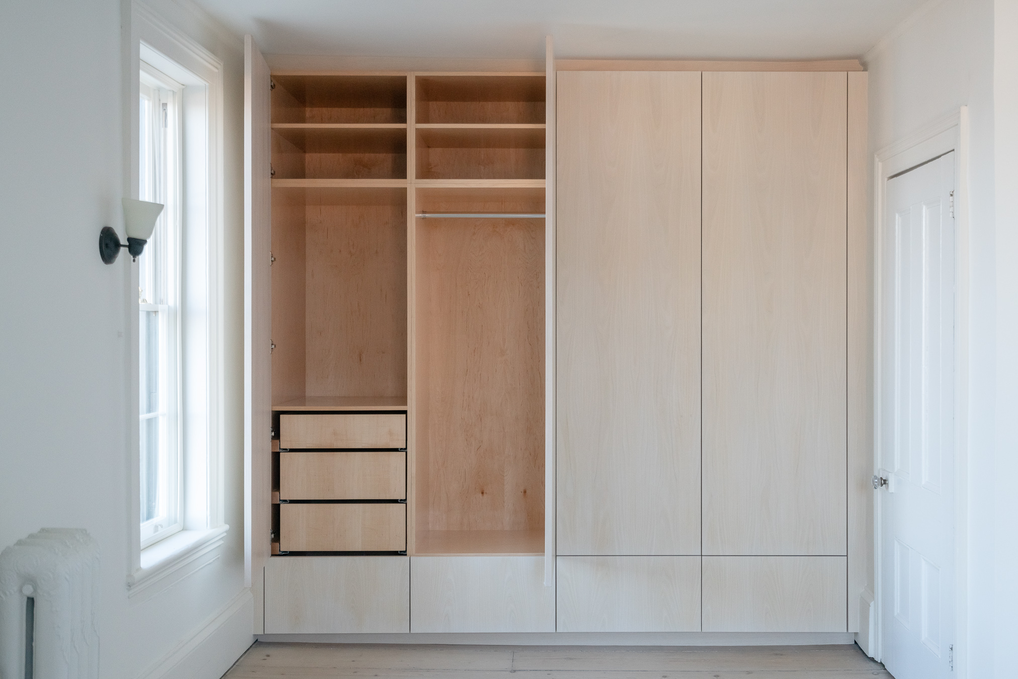 Pullout drawers and closet rods with adjustable shelves