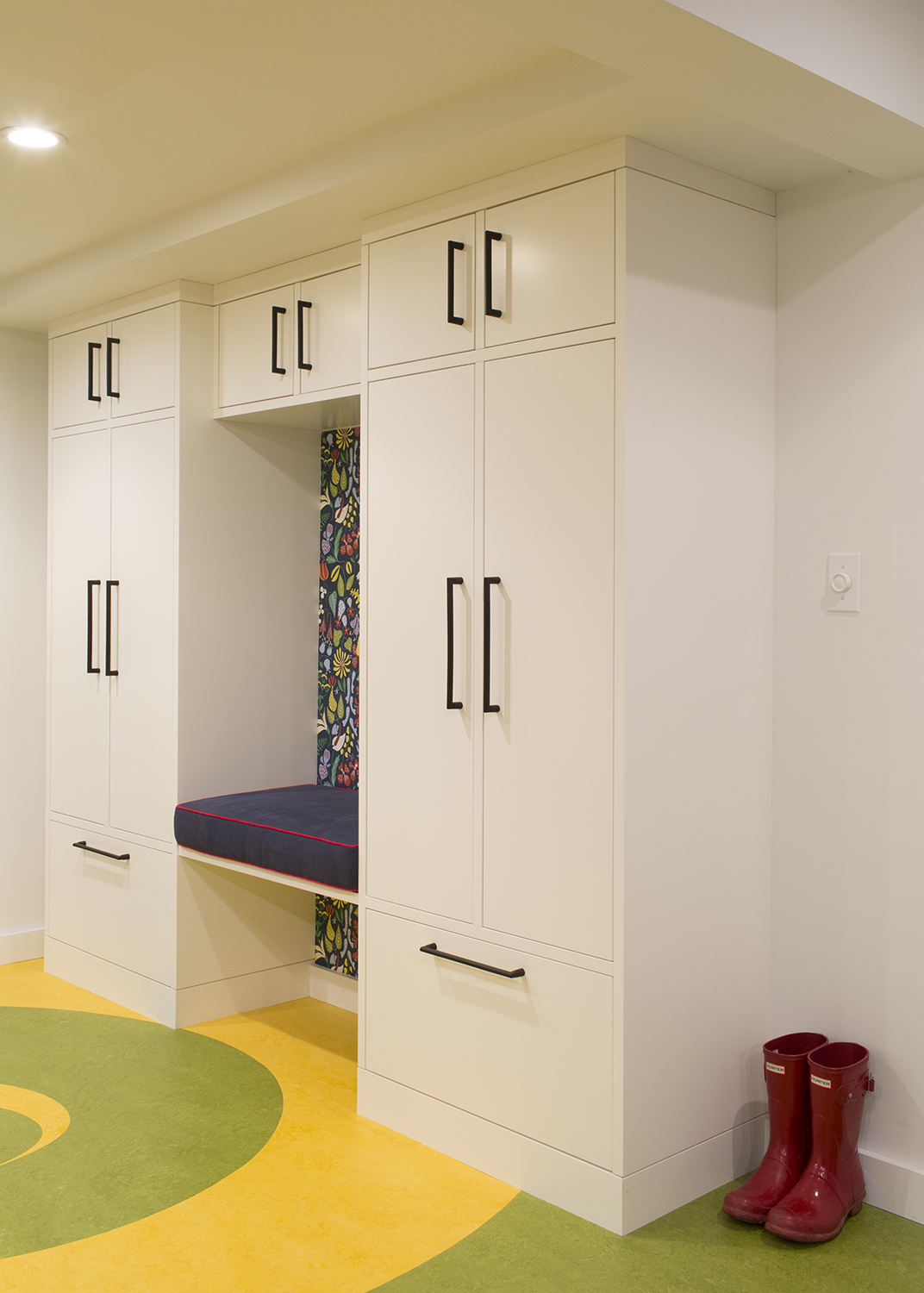 Custom mudroom storage cabinets and bench