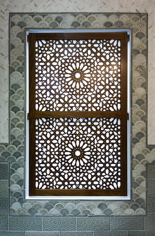Moroccan inspired window screen in walnut