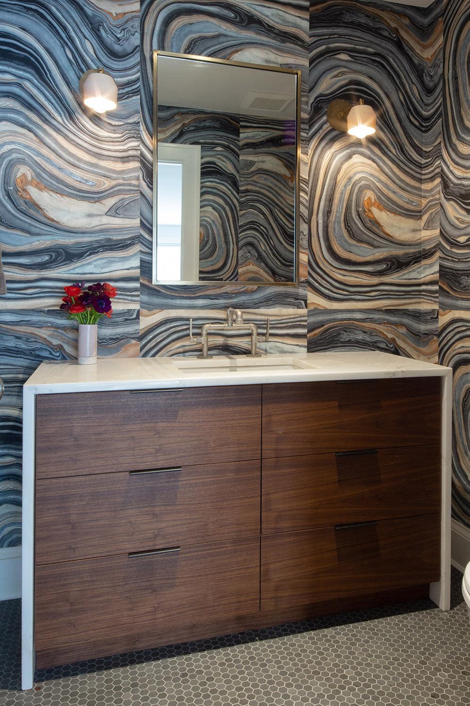 Custom bathroom vanity in walnut