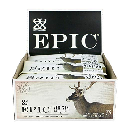 Epic Venison Bars - An upgraded jerky bar with clean ingredients, great for a high protein snack on the go.