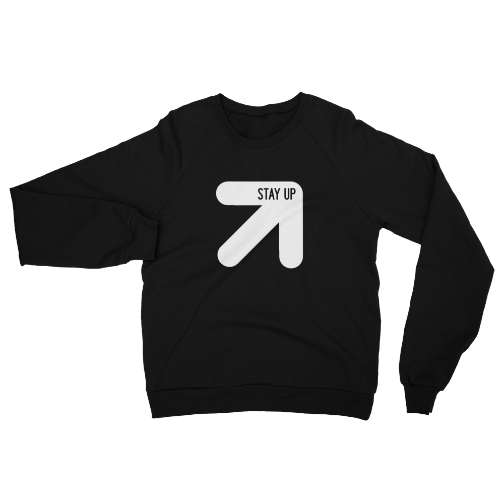 Stay Up Saturday logo sweatshirt, light weight and soft for those cool days.