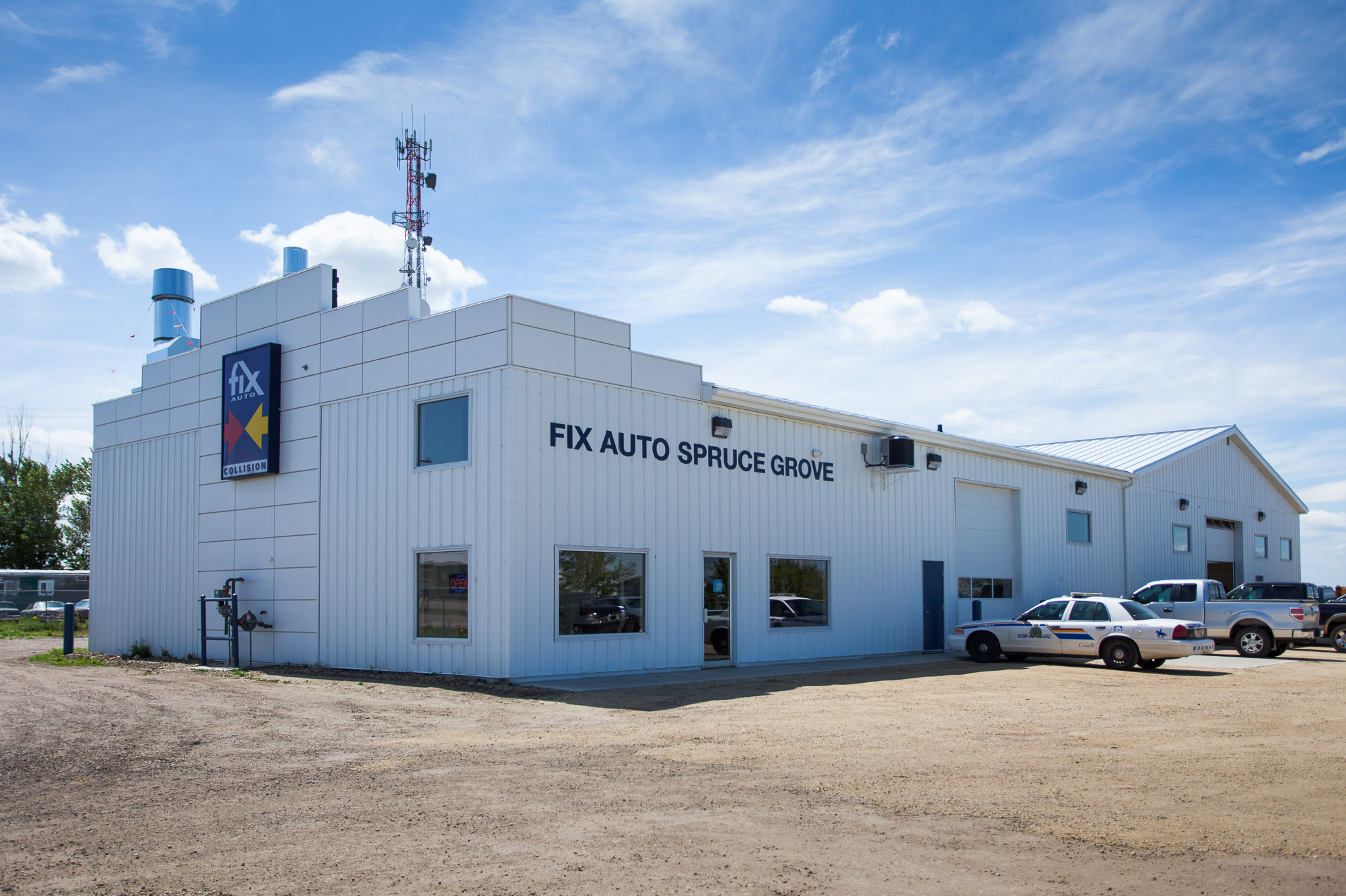 Fix Auto  Located at 110 Oswald Drive, Spruce Grove AB.  An addition and renovation to a auto-body shop.