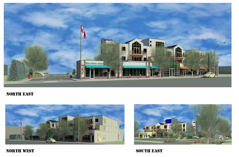 West Stadium Square  Located at 9117 - 111 Ave, Edmonton AB.  A mixed us building with doctors office, vetranary clinic, and pharmacy on the main floor. 2nd and 3rd floors are condo units.