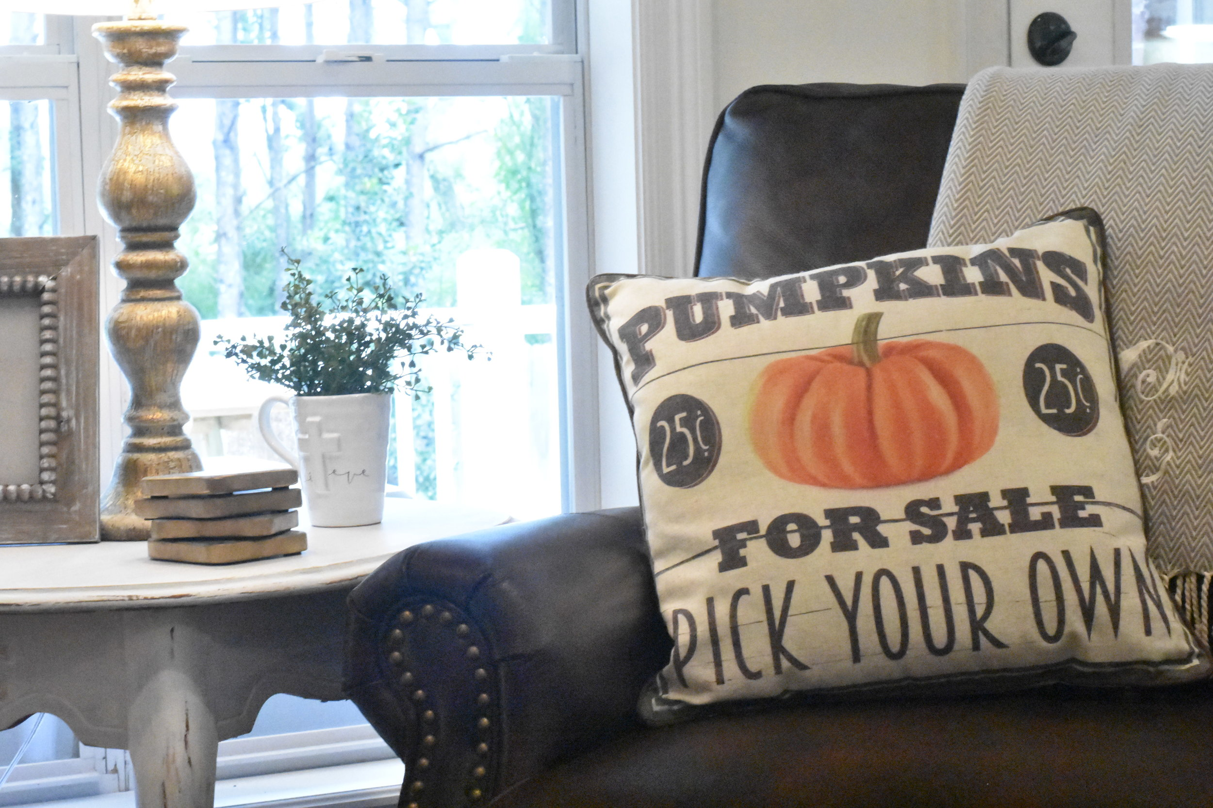 Pumpkin pillow and decorative mug from  Rubies Home Furnishings .