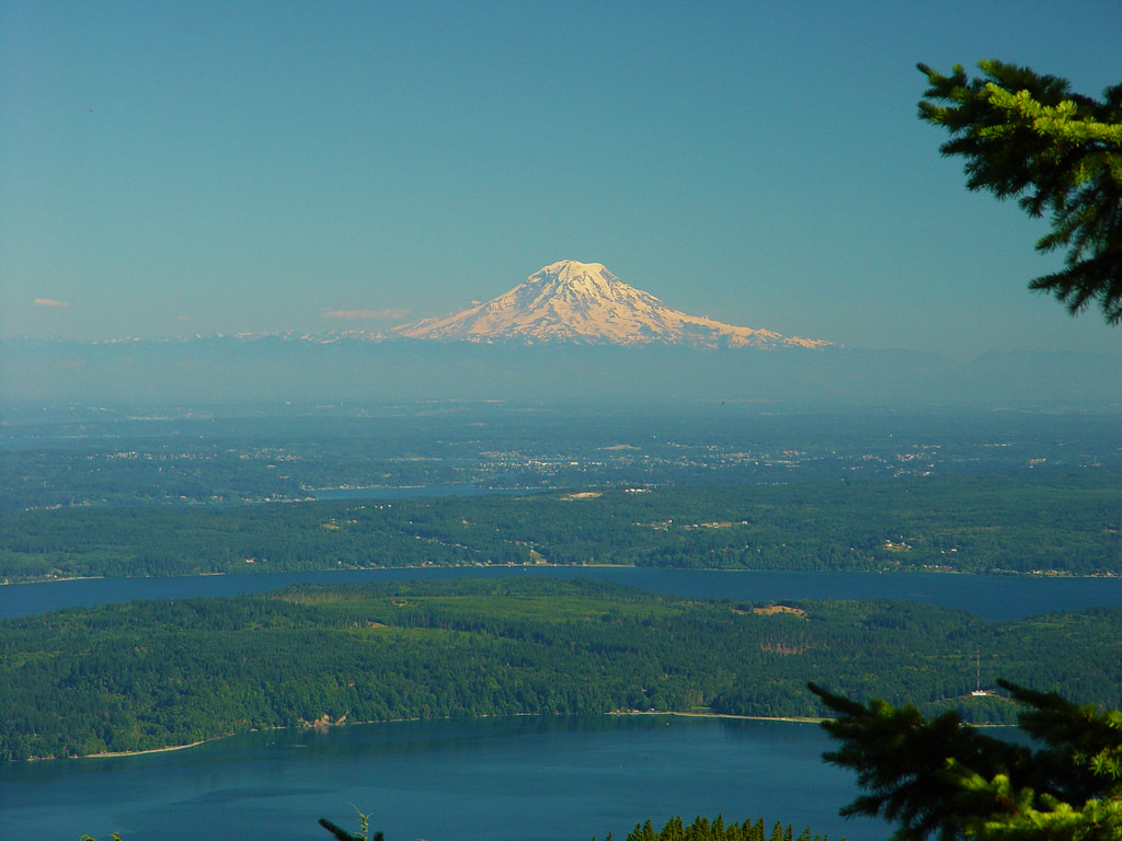 The Mt. Rainier volcano dominates Puget Sound, seen from Mt. Walker.  Dabob Bay and Hood Canal in the foreground. Photo:  In Wonder Photo