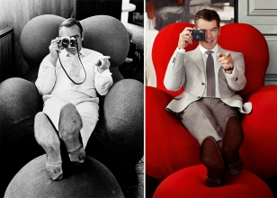 Sean Connery at the time of Diamonds Are Forever and Pierce Brosnan in a 2013 photoshoot for Hackett, both on the B&B Italia Serie Up 2000 Armchair