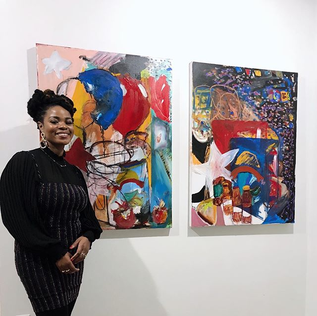 Painter Lissa Karpeh shared 6 incredible works expressing her Liberian American experience at @sure.space last night. Part of a series of pop-ups over the next few months showcasing our @studiofourhundred artists. Check the link in bio for the full list upcoming shows. Lissa's open gallery hours also listed in bio. 💥